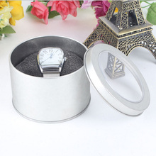 Wholsael Price High Quality Fashion Silver Metal Watch Box With Sponge Groove Round Watch Box Gift Packaging Boxes For Watch