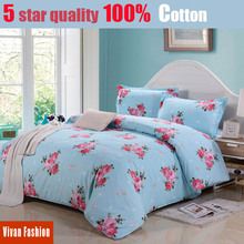 100% cotton home textile 4pcs flower bedding set king size bedspread brand bed sheet quilt cover pillow case Super quality
