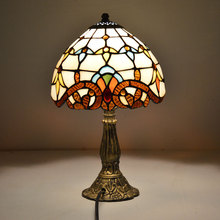 Tiffany Table Lamp 8 Inch Classic European Baroque Stained Glass Bedside Lamp E27 110-240V(China)
