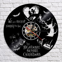 Free Shipping 1Piece Nightmare Before Christmas CD Vinyl Clock Art Decoration Antique Wall Clock Modern Design Home Decoration