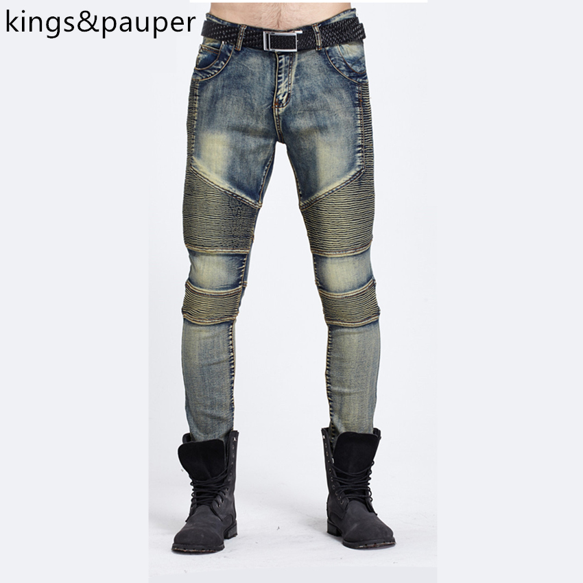 High quality 2017 New Designer Fashion Denim Overalls  Brand Clothing Slim Fit Casual Pants Jeans Men Biker JeansОдежда и ак�е��уары<br><br><br>Aliexpress
