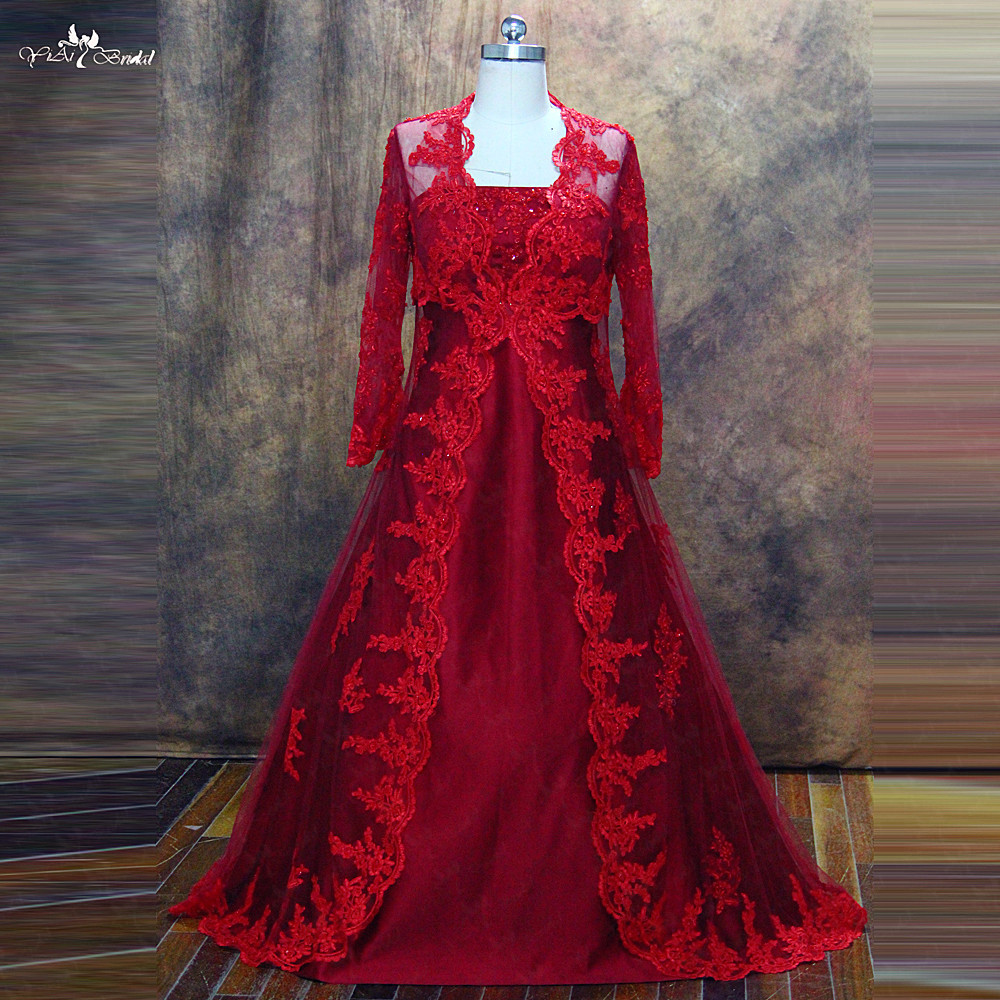 RSW477 Yiaibridal Real Job Muslim Two Pieces Skirt Blouse Style Plus Size Long Sleeves Red Wedding Dress