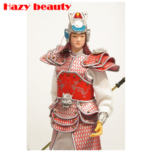 32CM Chinese samurai Doll Chinese cavalier doll handicrafts decorative statuette Warring States military model doll ningdie