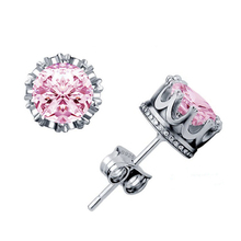 LUCKY YEAR Hot Silver Color jewelry Pink Cubic Zirconia Crystal Crown Ear Stud Nice Shipping