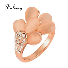 SINLEERY Cute Female Vintage Flower Unique Opal Rings  Rose Gold Color Accessories Women Retro Jewelry Wedding Rings JZ563