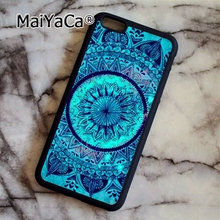 MaiYaCa Turquoise Mandala x Lace Wood 09 Soft Rubber cell phone Case Cover For iPhone 6 6S phone cover shell(China)