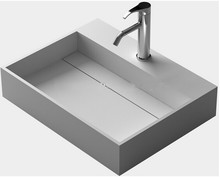 Rectangular Solid Surface Stone Wall Mounted Wash Sink Cloakroom Stone Wall Hung Wash Basin RS3833-772(China)