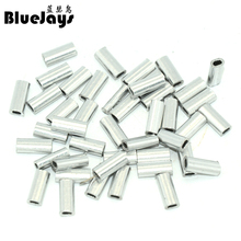 BlueJays 100pcs/lot Silver Oval Aluminum Fishing Tube Fishing Wire Pipe Crimp Sleeves Connector Fishing Line Accessories(China)