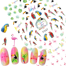1 Sheets Tropical Flamingo Woodpecker Sticker Nail Art New 3D Designs for Polish Gel Manicure Tips Nail Foils Nail Decals TRF247