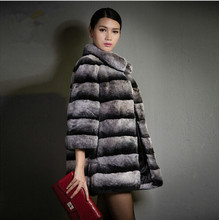 Women's Natural Chinchilla Color Stripe OuterWear Genuine Rex Rabbit Fur Coat Real Fur Jacket For Woman