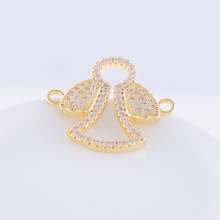 Angel Charm Pendant Jewelry Making Supplies Fashion Copper Zircon DIY Jewellery Connector Findings Making Accessories