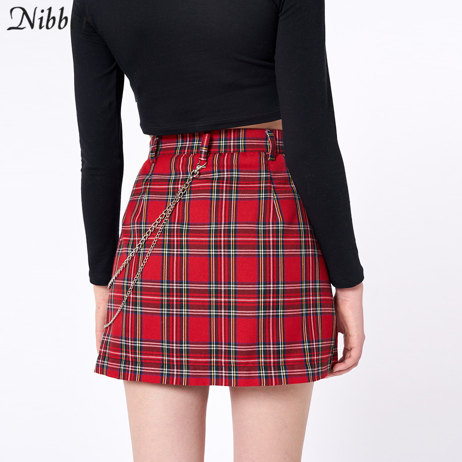 Nibber spring Vintage red Plaid mini skirts Women 19 summer fashion office lady club party casual short pleated skirts mujer 7