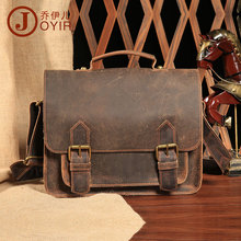 Men Vintage Crazy Horse Leather Messenger Satchel Laptop Briefcase Men's Bag Genuine Leather Shoulder Crossbody Bag Chocolate