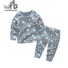 Retail 1-10 years cotton long-sleeved T-shirt home service + pants printed Cartoon pattern children spring fall autumn