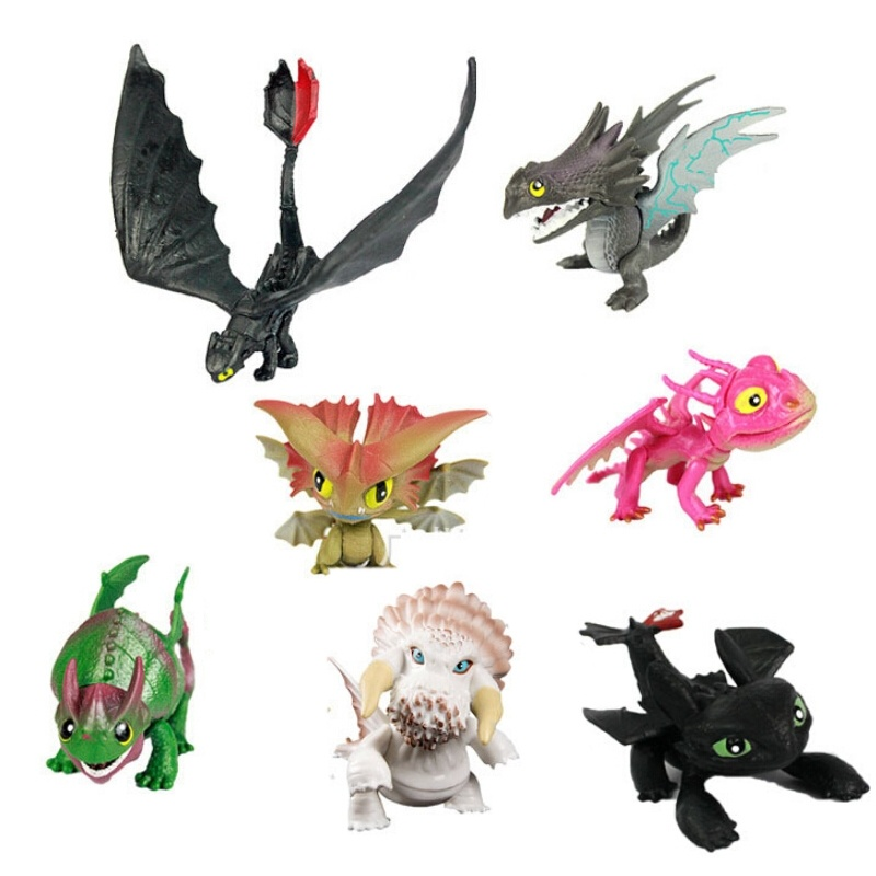 7pcs/set How to Train Your Dragon 2 PVC Action Figures Toy Doll Night Fury Toothless Dragon<br><br>Aliexpress