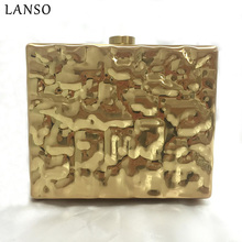 LANSO High-end Clutch Bags Women Luxury Matel Evening Bag Hard Shell Dress Handbags Party Wedding Purse Drop Shipping