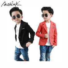 ActhInK Gentle Boys Black&Red Solid Formal Blazer Jacket Brand England Style Boys Formal Party Tuxedos Kids Wedding Wears, MC097