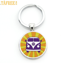 TAFREE exquisite handmade glass gem Hippie Peace Sign Van Bus mens keychain high quality pendant car ke ychain ring holder CT106