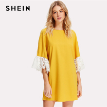 Buy SHEIN Lace Applique Pearl Beading Sleeve Dress Yellow Round Neck Flare Sleeve Patchwork Short Dress Women Weekend Casual Dress for $15.00 in AliExpress store