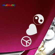 HotMeiNi 10 Color Warm Logo Combination Peace Love Yin Yang Tai Chi Gossip Car Sticker Leisure Car Covers Reflective Vinyl Decal(China)