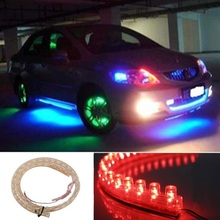 "2pcs 20""  50 cm Thin Flexible Waterproof Red xenon 48 LED chips Strip Daytime Running Light Driving DRL Fog Lamp Style"