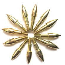 Carbon Steel 100 Grain Target Point  Archery Broadhead Gold Arrow Head Arrow Accessories Screw Insert Point for Hunting