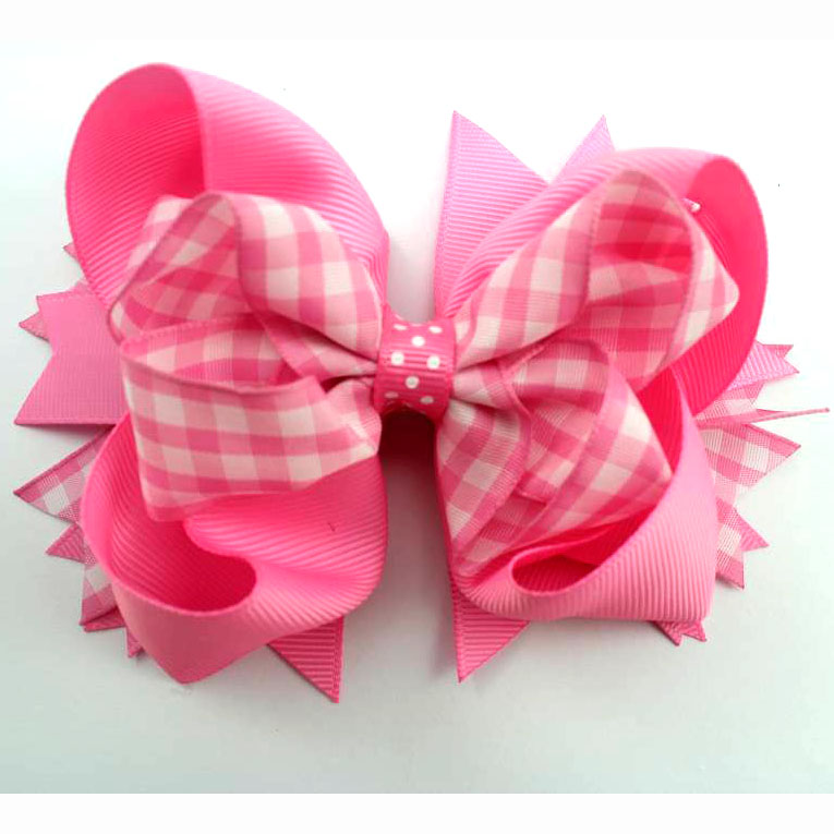 5 Inch Gingham design boutique Hair bows for little girls with hair ...