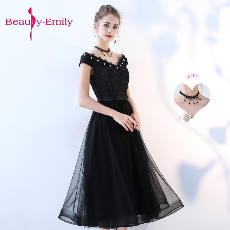 2018 Evening Dresses elegant crystal prom dress lacing back a-line tea length evening party gown lace prom dresses customized