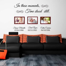 In these moments time stood still custom name lettering wall decals vinyl quotes wall stickers wall art living room 603C(China)
