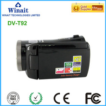 Winait 2017 cheap HDV-T92 digital video camera with Dual solar panel as battery charger Blink Detect Function Audio Recording(China)