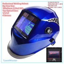"Welding Helmet View Size 100x65mm(3.94x2.56"") Top Optical Class 1111 4 Sensors Shade Range 4(3)-13 Auto Darkening Welding Mask(China)"