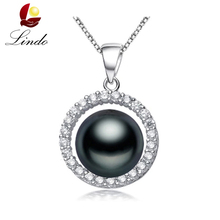 15 Types 925 sterling silver black pearl pendant necklace for women Elegant freshwater pearl jewelry AAAA high quality with box
