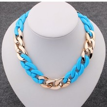 2014 Fashion gold CCB&P necklaces  gradient color thick chain  fashion necklace for men or women Gold Ccb  Necklace wholesale