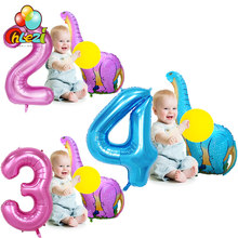 2pcs Dinosaur foil balloon 40 inch Blue Pink Number helium ballons birthday  Party decoration supplies children  toys baby shower 1b737d24534f