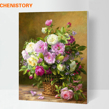 Framed Europe Abstract Flower DIY Painting By Numbers Kits Multi-Picture Combination Canvas Painting Picture Home Decor Artwork