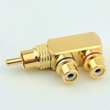 Copper Lotus AV Tee Connector One Point Two RCA One Male And 2 Female AV Adapter Socket Converter Plug Male to Female
