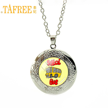 TAFREE school bus Photo Locket Pendant Necklace for Class Students Silver Plated Long Necklace men jewelry circle pendant H211(China)