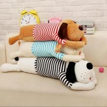 size 80 cm new arrived cartoon Dog plush toy Large stripe big head dog doll sleeping pillow cushion Christmas birthday gift