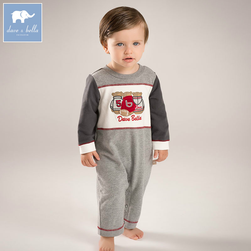 DB5480 dave bella autumn new born baby cotton romper infant clothes boys print cute children romper baby 1 piece<br>