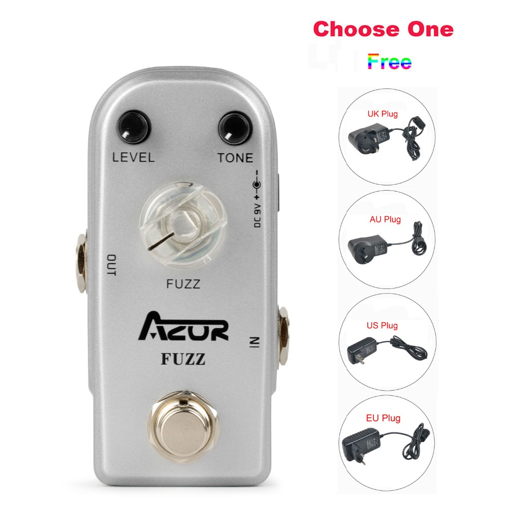 AP-303 Fuzz Mini Guitar Effect Pedal with Aluminum Alloy+9V1A Adapter and 8 Heads Multi-interface Effects Connecting Cable<br>
