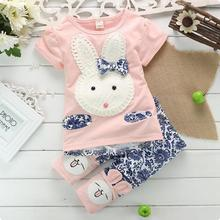 2017 New Summer Kids Girls Clothing Set Rabbit t shirt + Pants Cotton Baby Girls Suits Set fashion Children Girl Clothes
