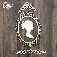 QITAI 22 Pieces/set Wood Crafts Fashion Girl Head Furnishing Articles Room Gifts & Crafts Home Decorations Accessories WF282(China)