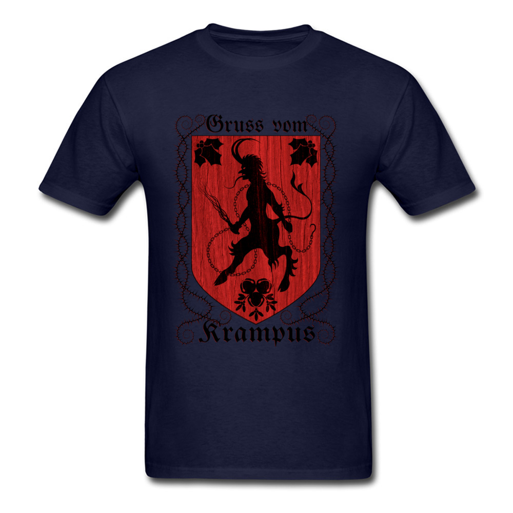 Greetings From Krampus Mens Tshirt Fitted Normal Tops Shirt ostern Day Cotton Fabric Round Collar Tee Shirts Short Sleeve Greetings From Krampus navy