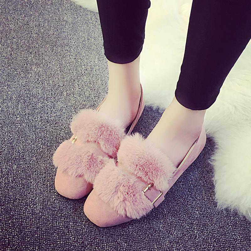 Fashionable Fur Shoes Women Flats Slip On Belt Buckle Casual Shoes Shallow Square Toe Work Peas Flock Leather Mocassins Mujer<br><br>Aliexpress