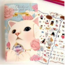 8sheets/pack New very cute cats designs decoration paper / pvc sticker / Decorative Label / Multifunction GT017
