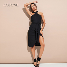 Buy COLROVIE Black Sexy Halter Neck Solid Belted Backless Party Dress 2018 Autumn Split Night Sexy Bodycon Dress Women Dresses