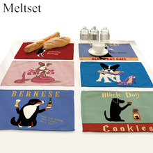 4pcs/lot Cartoon Dog Printed Dining Table Mat Non-Slip Placemats Bowl Pads Coaster Kitchen Accessories
