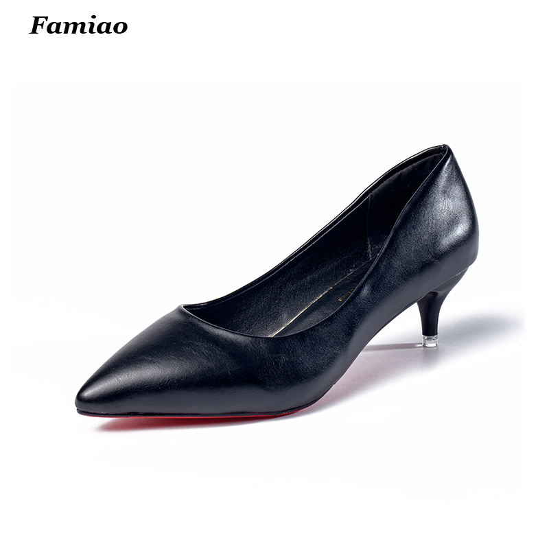 New 2017 Concise pointed toe OL women pumps PU leather spike heels women red bottom 5cm high heels shoes woman<br><br>Aliexpress