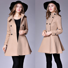 Winter Coat Cloak For Women 2017 New Fashion Overcoat Khaki/Blue/Red/Black Double Breated Big Size XXL