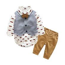 Long sleeve Baby boy's clothing sets infant clothes Baby Suit Boys Gentleman cotton Bow Tie+ bodysuit + Vest + trousers 4pcs set
